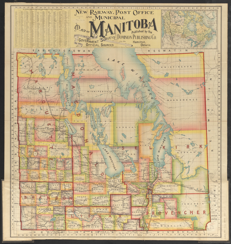 New railway, post office and municipal map of Manitoba