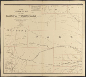 Preliminary post route map of the states of Kansas and Nebraska with adjacent parts of Missouri, Iowa, Dakota, Colorado, Texas, and Indian Territory, showing post offices, with the intermediate distances between them and mail routes in operation on 1st Aug. 1883