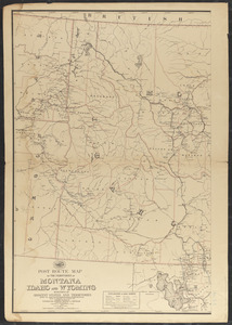 Post route map of the territories of Montana, Idaho, and Wyoming with parts of adjacent states and territories showing post offices with intermediate distances between them and mail routes in operation on 1st August 1883
