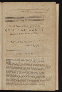 Several laws and orders made at the General Court, holden at Boston the 15th of May 1672
