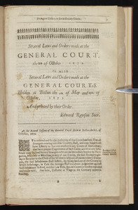 Several laws and orders made at the General Court, the 8th of October i672 [sic]