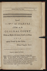 Several laws and orders made at the General Court holden at Boston the twenty seventh of May 1674