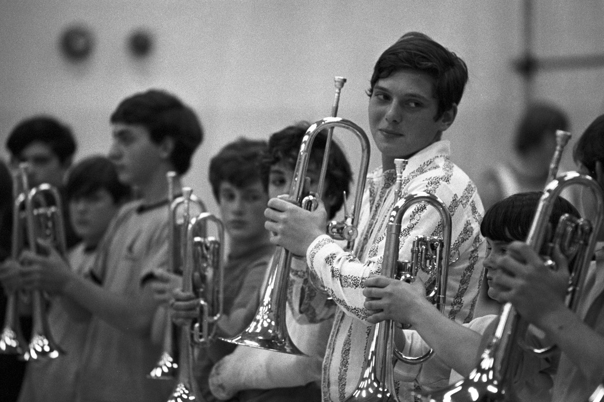Drum-and-bugle practice in high school gym, Lynnfield