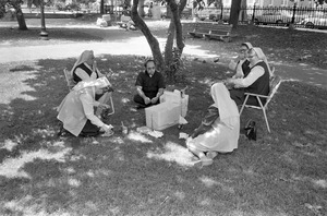 Priest and nuns have picnic on The Common, Boston