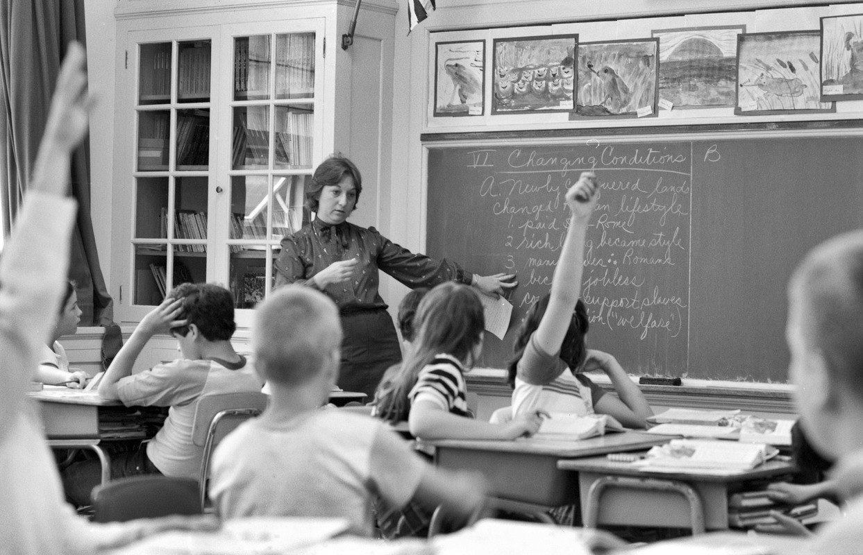 Elementary school teacher in class, South Boston