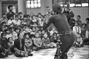 Brother Blue performs for schoolchildren, Dorchester