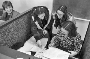 Suffolk University: Students confer in class, downtown Boston, Beacon Hill