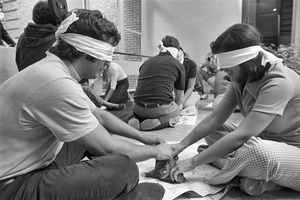 Blindfolded clay play at behavioral science experiment, Tufts University, Medford