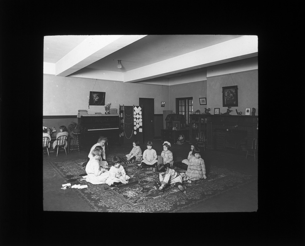 Children with Montessori Material, Perkins Institution