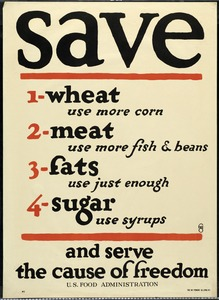 U. S. Food Administration Poster, World War I