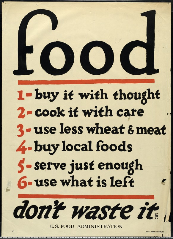 U. S. Food Administration, Ration Poster, World War I
