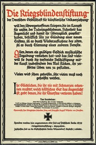 German War Blind Foundation Poster, World War I