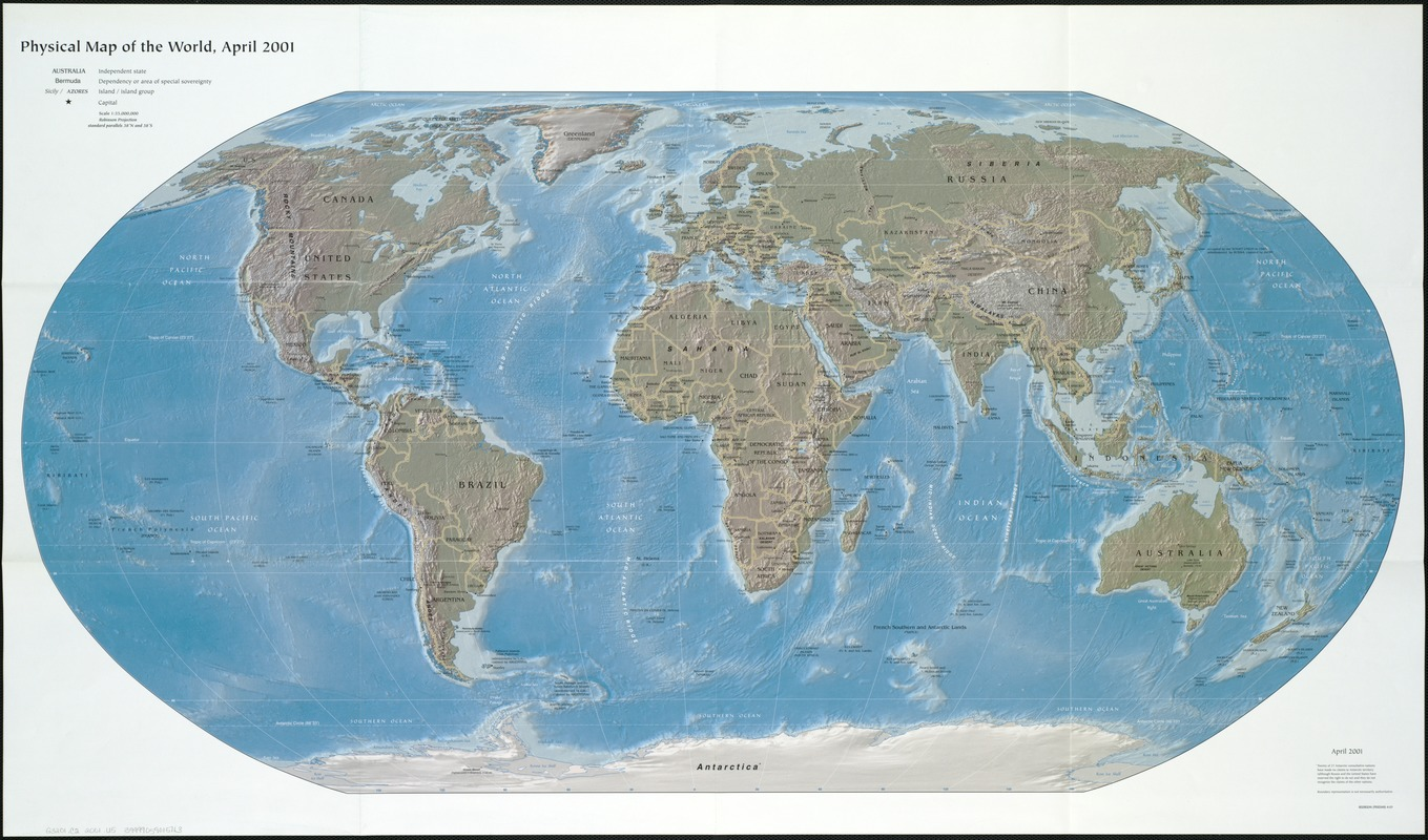 Physical map of the world, April 2001