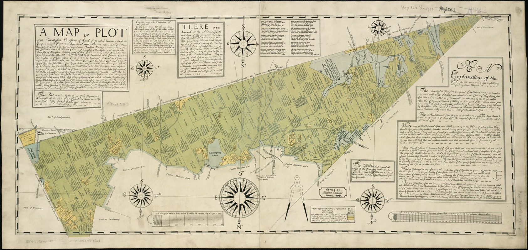 A map or plot of the twenty-five divisions of land ... late in the Township of Dorchester and now in the Township of Stoughton, it being part of that land commonly called Dorchester New-Grant beyond the Blew-hills ... finished May 8th, 1730