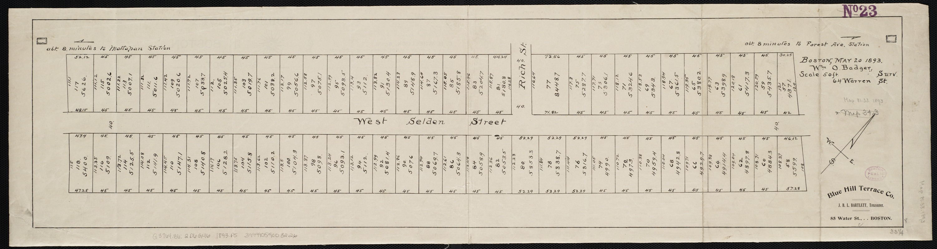 [Plan of lots on West Selden Street, Dorchester]