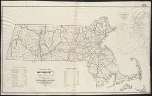 Outline map of Massachusetts showing population according to United States Census of 1890, and Congressional districts
