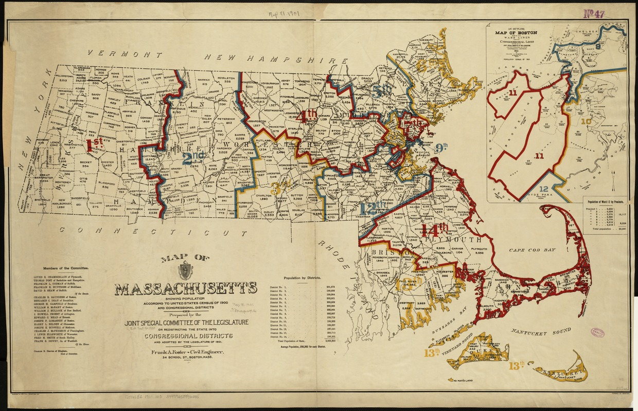 Map of Massachusetts showing population according to United States Census of 1900 and congressional districts