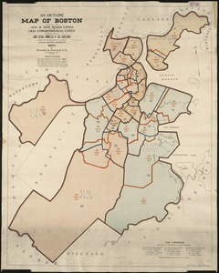 An outline map of Boston showing the old & new ward lines, also the old congressional lines