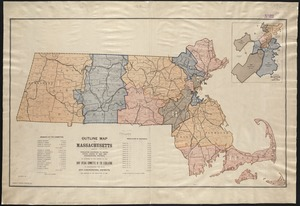 Outline map of Massachusetts showing population according to the United States census of 1890, and Congressional Districts