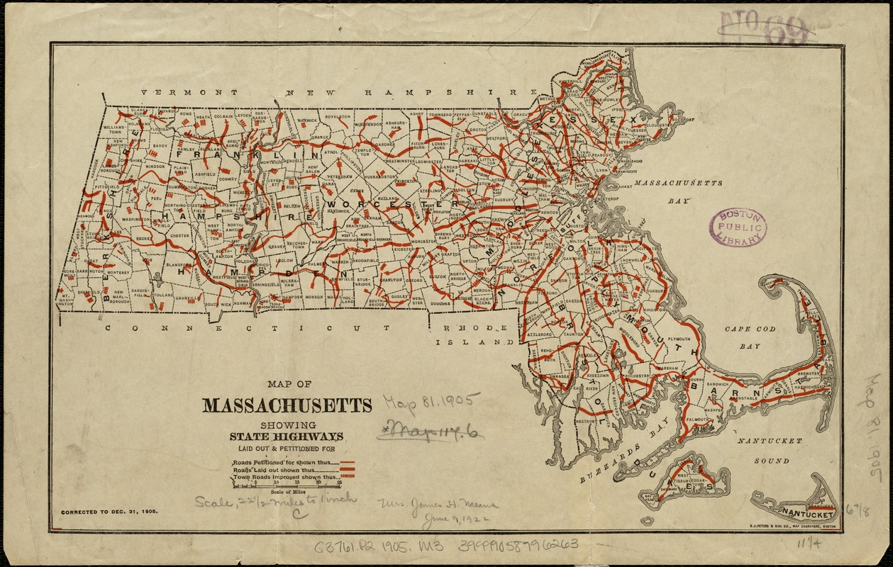 Map of Massachusetts showing state highways laid out and petitioned for
