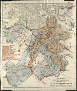 Map showing Boston territory tributary to South Metropolitan system and Boston main drainage system