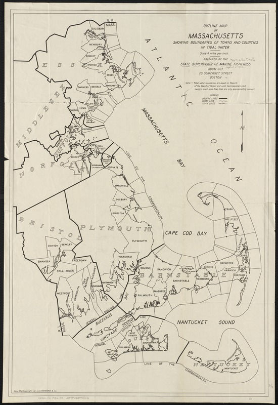 Outline Map Of Massachusetts Showing Boundaries Of Towns And - Map of ma towns