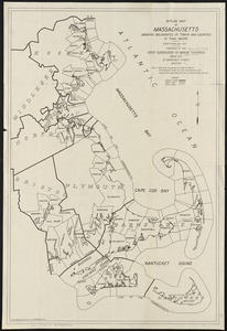 Outline map of Massachusetts showing boundaries of towns and counties in tidal water