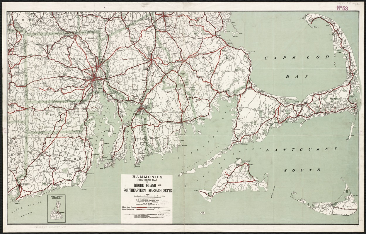 Hammonds New Road Map Of Rhode Island And Southeastern - Road map of massachusetts