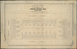 Ground plan of 50 brick dwelling houses, belonging to the Lawrence Machine Shop, Lawrence, Mass
