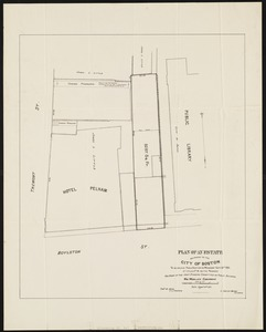 Plan of an estate belonging to the City of Boston to be sold by public auction on Wednesday, Sept. 14th, 1881 ...