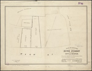 Plan of estates on High Street belonging to the City of Boston