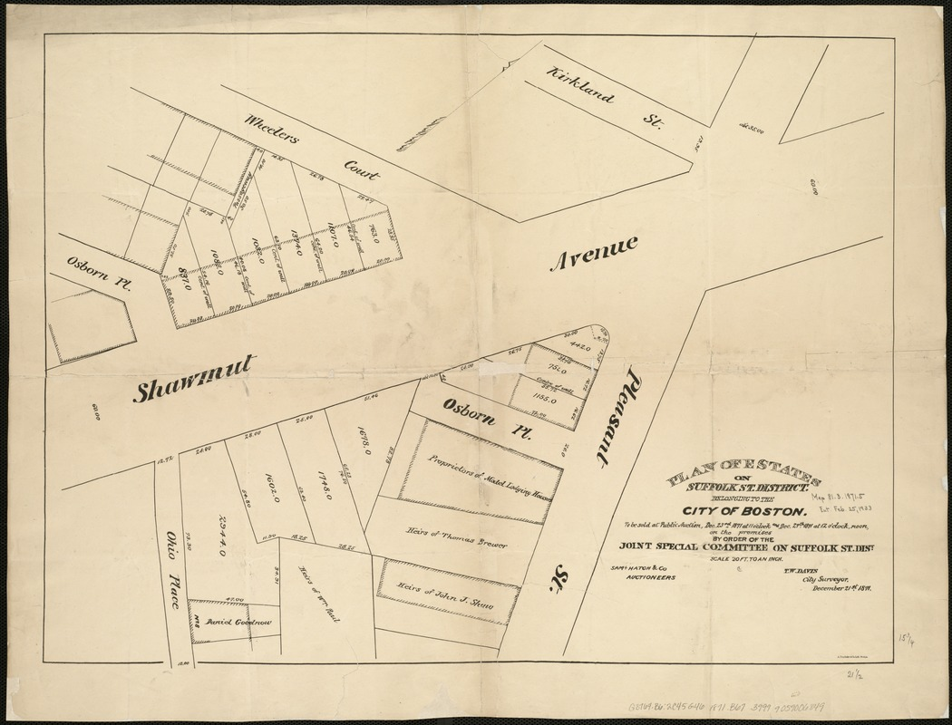 Plan of estates on Suffolk St. District