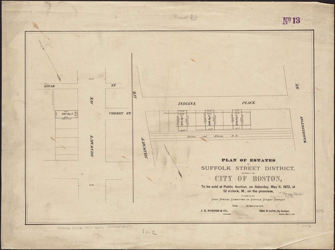 Plan of estates on Suffolk Street district, belonging to the City of Boston, to be sold at public auction, on Saturday, May 11, 1872, at 12 o'clock m., on the premises, by order of the Joint Special Committee on Suffolk Street District