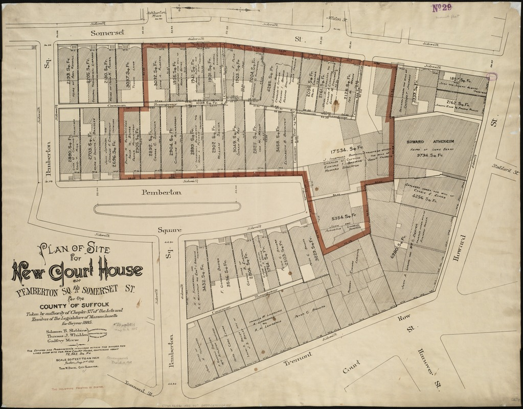 Plan of site for new court house on Pemberton Sq. and Somerset St. for the County of Suffolk