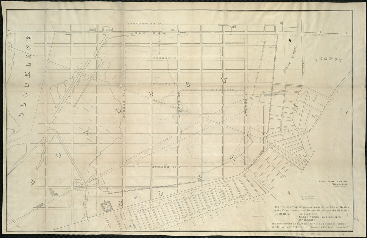 Plan accompanying the proposal made to the City of Boston by the Commissioners on Boston Harbor and the Back Bay Octr. 20, 1854