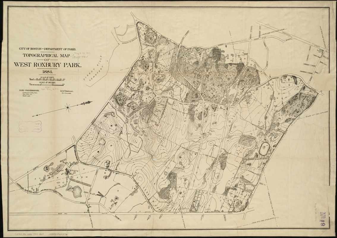Topographical Map Of West Roxbury Park Digital Commonwealth