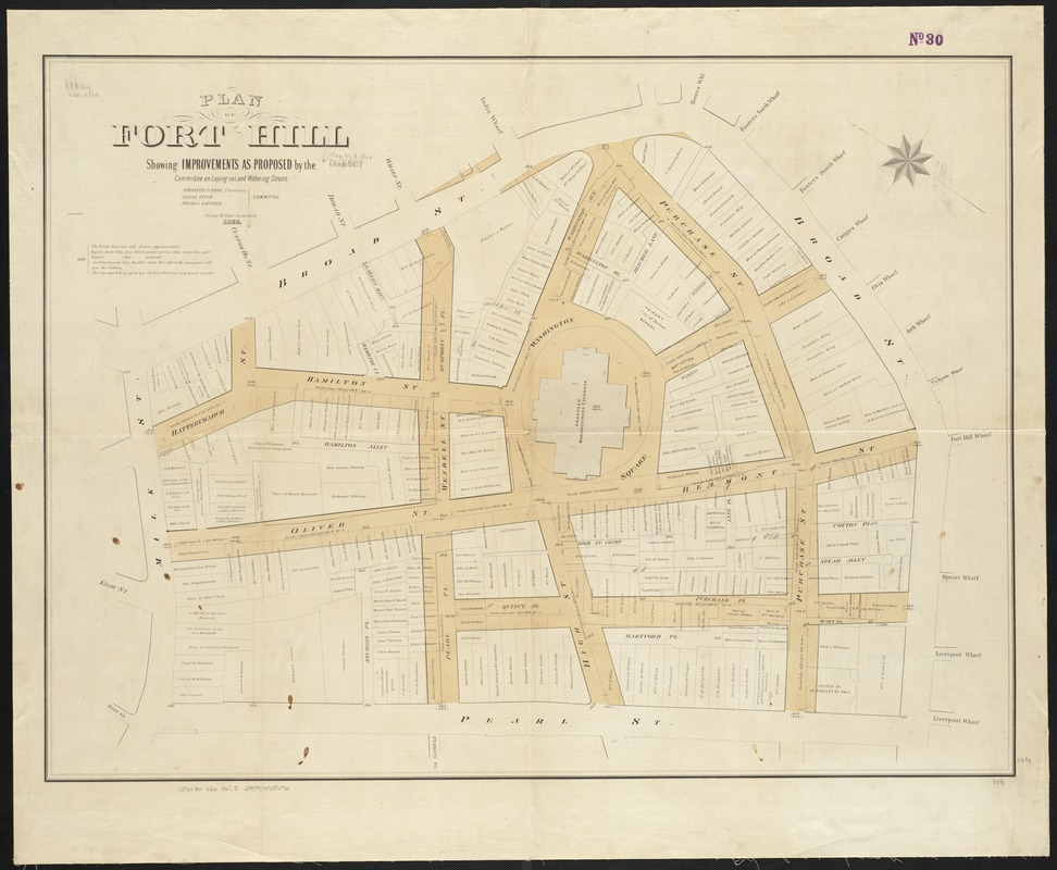 Plan of Fort Hill showing improvements as proposed by the Committee on laying out and widening streets