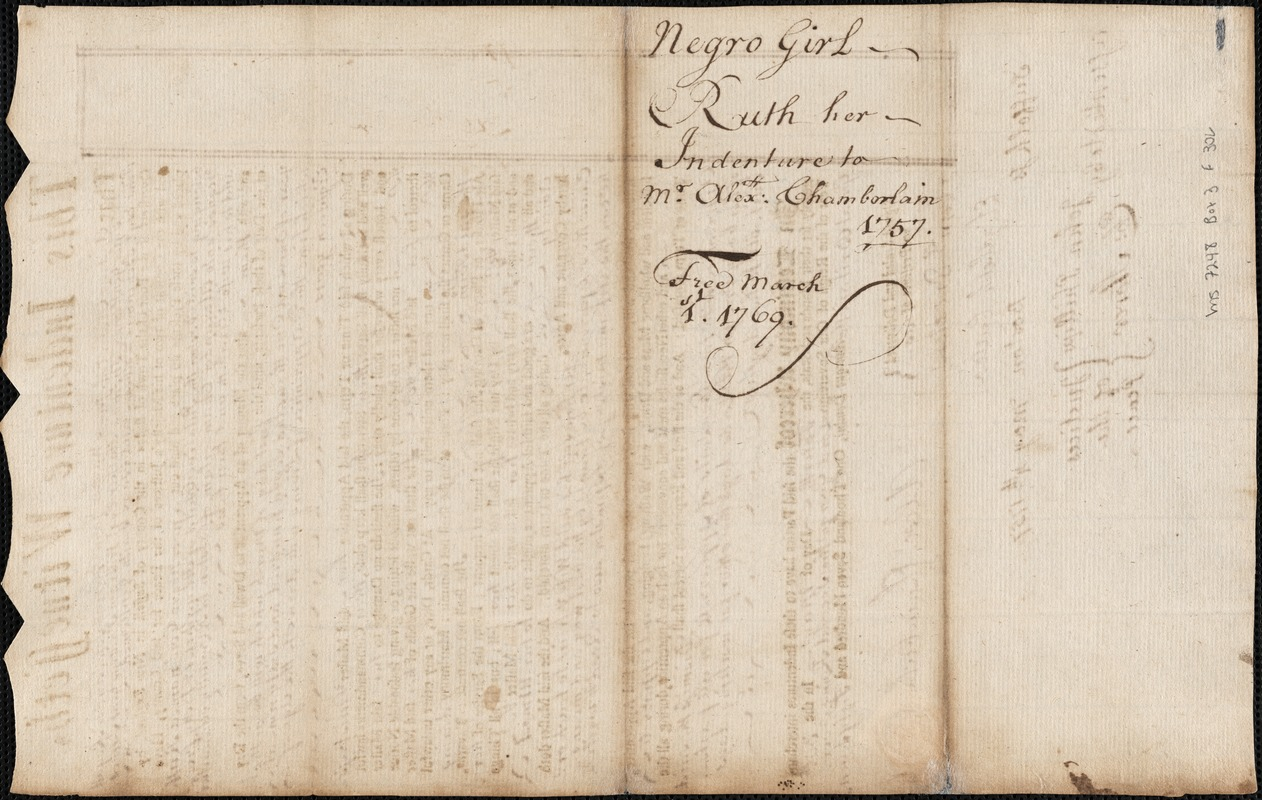 Document of indenture: Servant: Humphreys, Ruth. Master: Chamberlain, Alexander. Town of Master: Boston.