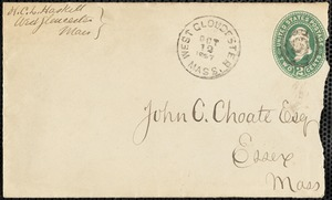 Letter to John C. Choate regarding Essex enlistment figures for Civil War