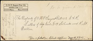 Letter to J. Horace Burnham of Essex GAR regarding Essex enlistment figures for Civil War
