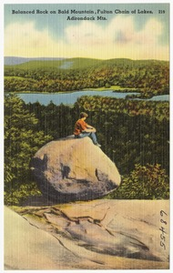 Balanced Rock on Bald Mountain, Fulton Chain of Lakes, Adirondack Mts.