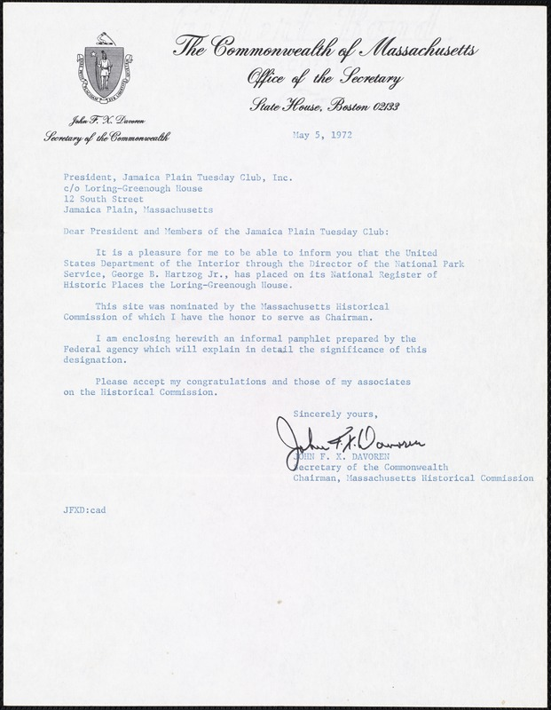 [Letter] 1972 May 5, John F. X. Davoren to President, Jamaica Plain Tuesday Club, Inc.