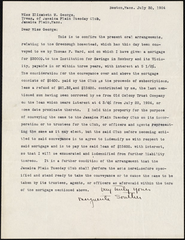 [Letter] 1924 July 30, Marguerite Souther to Elizabeth W. George, Jamaica Plain