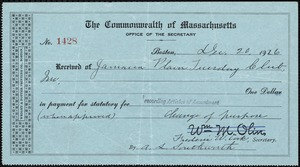 [Record of payment] 1926 December 20, Jamaica Plain Tuesday Club to the Commonwealth of Massachusetts