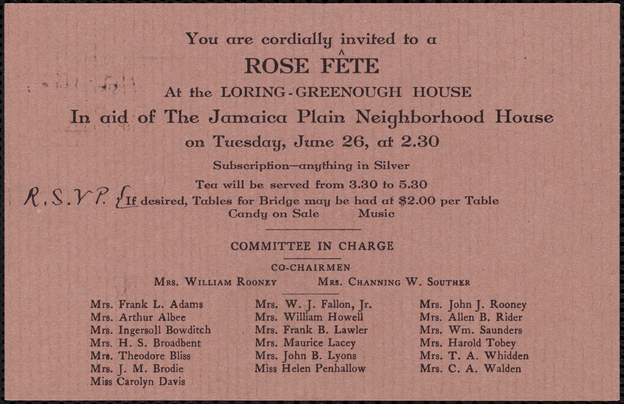 You are cordially invited to a rose fête at the Loring-Greenough House