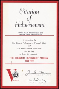 Citation of achievement, Jamica Plain Tuesday Club, Inc.