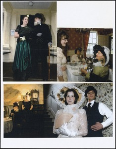 Four photographs of groups of people in historical costume