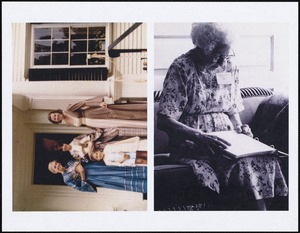Two photographs, one of a group of people in constume, the other of an elderly woman