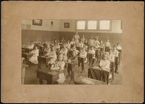 Classroom at the schoolhouse in 1916. The teacher is Lillian Murdock