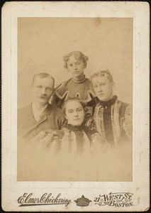 Fremont Crocker with his two nieces, Estelle and Minnie Mecarta, and his sister Josephine Maine Crocker